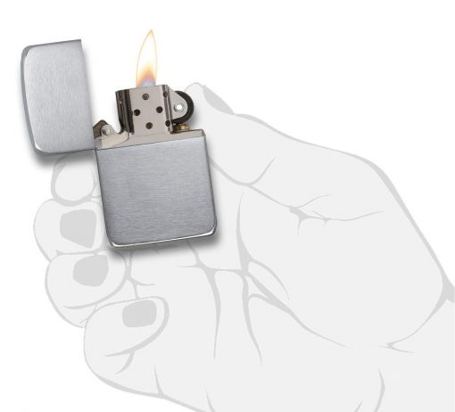 Zippo - Brushed Chrome 1941 Replica Lighter Front Side Open With hand Graphic