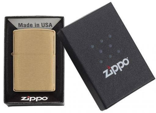 Zippo - Classic Brushed Brass Lighter Front Side Closed in Box