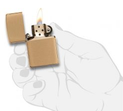 Zippo - Classic Brushed Brass Lighter Front Side Open With Hand Graphic