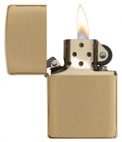 Zippo - Classic Brushed Brass Lighter Front Side Open