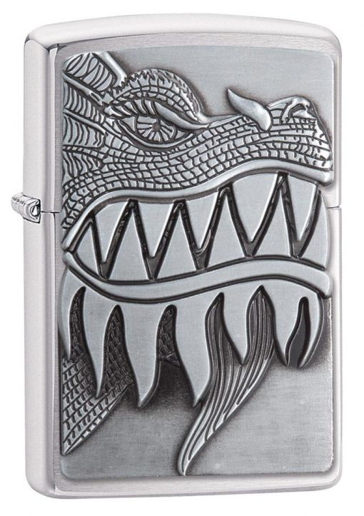 Zippo - Fire Breathing Dragon Lighter Front Side Closed Angled