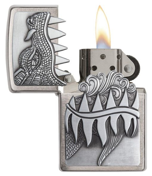Zippo - Fire Breathing Dragon Lighter Front Side Open