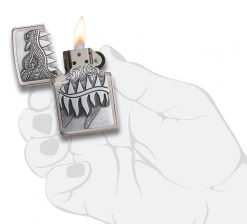Zippo - Fire Breathing Dragon Lighter Front Side Open With Hand Graphic