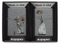 Zippo - Iron Stone Couple Lighter (Set of 2) Front Side Both In Box