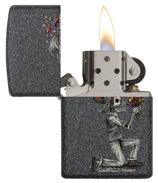Zippo - Iron Stone Couple Lighter (Set of 2) Front Side Right Open