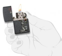 Zippo - Iron Stone Couple Lighter (Set of 2) Front Side Right Open With Hand Graphic