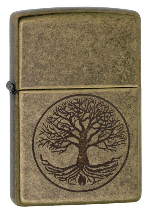 Zippo - Tree of Life Antique Brass Lighter Front Side Closed Angled