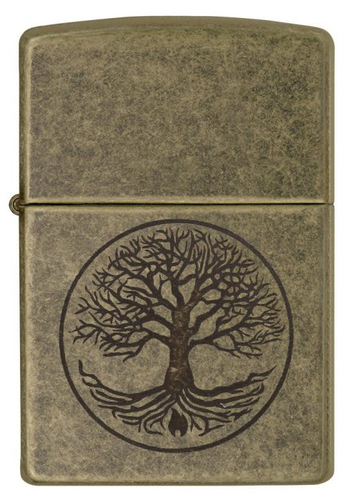 Zippo - Tree of Life Antique Brass Lighter Front Side Closed