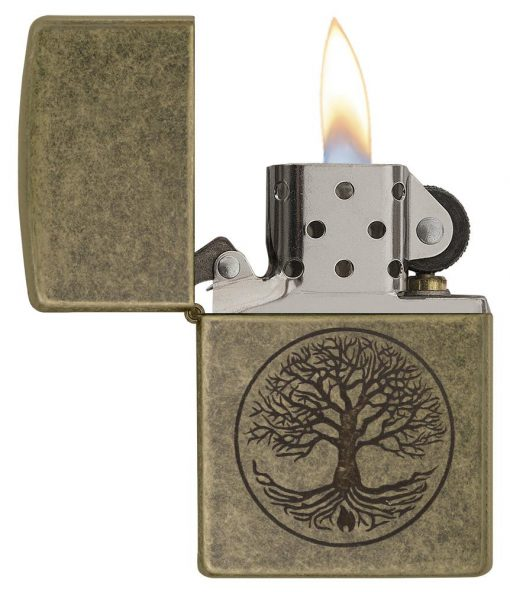 Zippo - Tree of Life Antique Brass Lighter Front Side Open