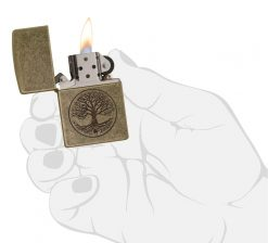 Zippo - Tree of Life Antique Brass Lighter Front Side Open With Hand Graphic