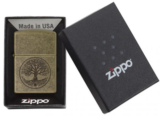 Zippo - Tree of Life Antique Brass Lighter Front Side Closed In Box