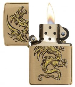 Zippo - Dragon Brushed Brass Lighter Front Side Open