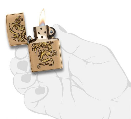 Zippo - Dragon Brushed Brass Lighter Front Side Open With Hand Graphic