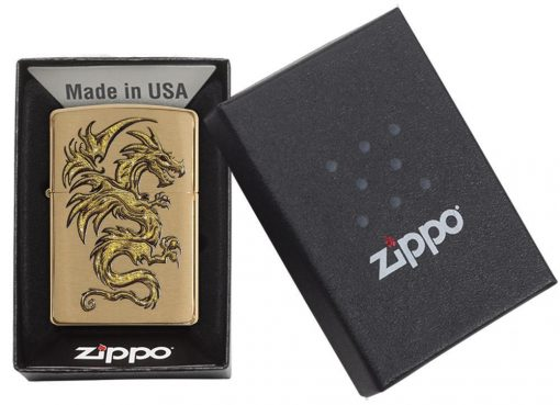 Zippo - Dragon Brushed Brass Lighter Front Side Closed In Box