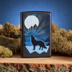 Zippo - Wolf and Moon Lighter Front Side Closed With Background