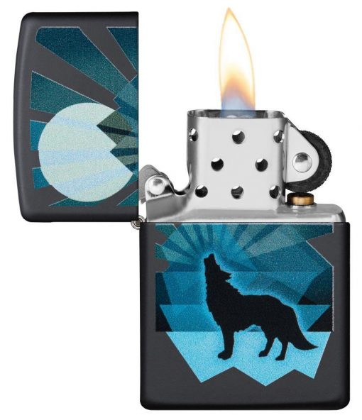 Zippo - Wolf and Moon Lighter Front Side Open