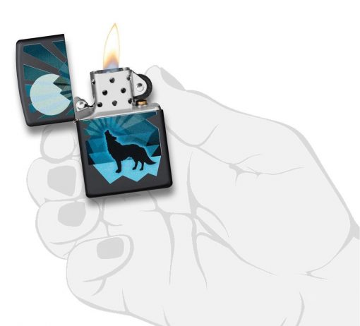 Zippo - Wolf and Moon Lighter Front Side Open With Hand Graphic