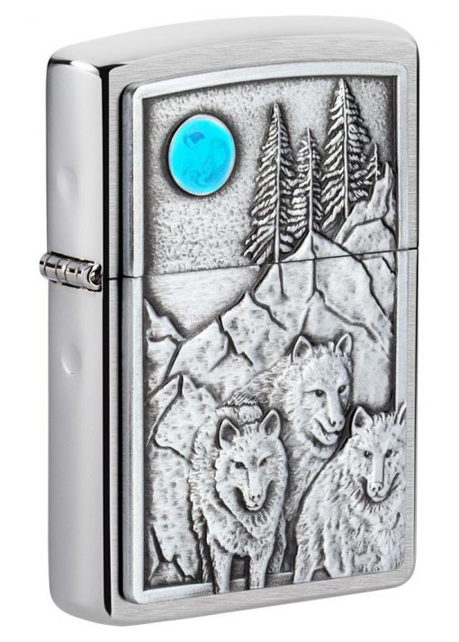 Zippo - Wolf Pack and Moon Emblem Lighter Front Side Closed Angled