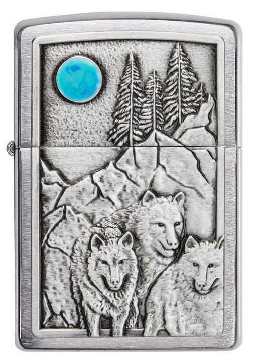 Zippo - Wolf Pack and Moon Emblem Lighter Front Side Closed