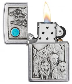 Zippo - Wolf Pack and Moon Emblem Lighter Front Side Open