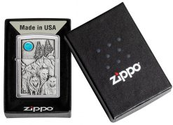 Zippo - Wolf Pack and Moon Emblem Lighter Front Side Closed in Box