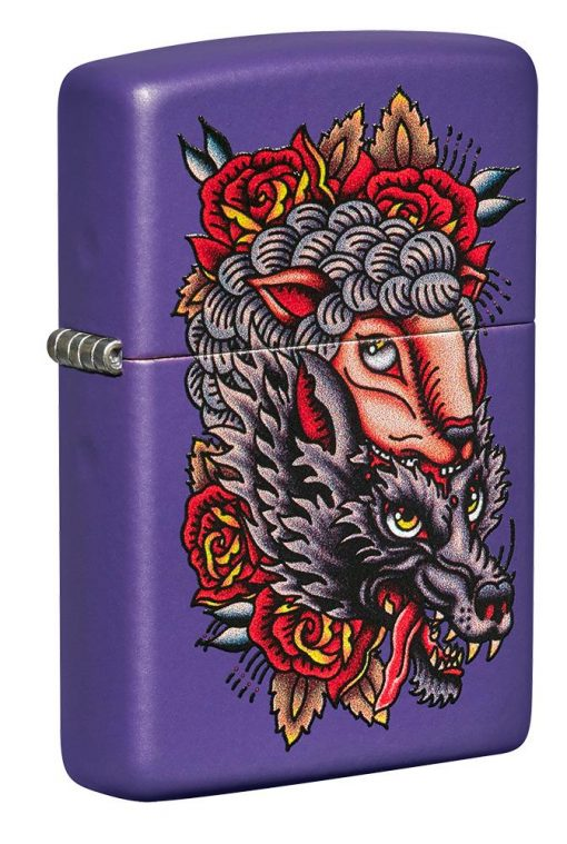 Zippo - Wolf Lighter Front Side Closed Angled