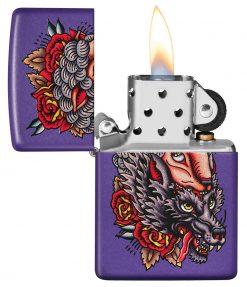 Zippo - Wolf Lighter Front Side Open