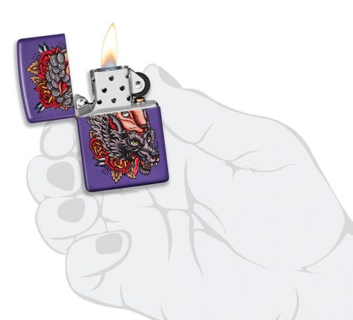 Zippo - Wolf Lighter Front Side Open With Hand Graphic