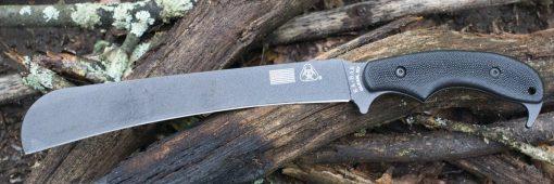 Ka-Bar ZK Pestilence Chopper Knife1095 Blade Toxic Green GFN-PA66 Handle Front Side Black Handle With Background