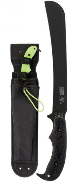 Ka-Bar ZK Pestilence Chopper Knife1095 Blade Toxic Green GFN-PA66 Handle Front Side With Sheath