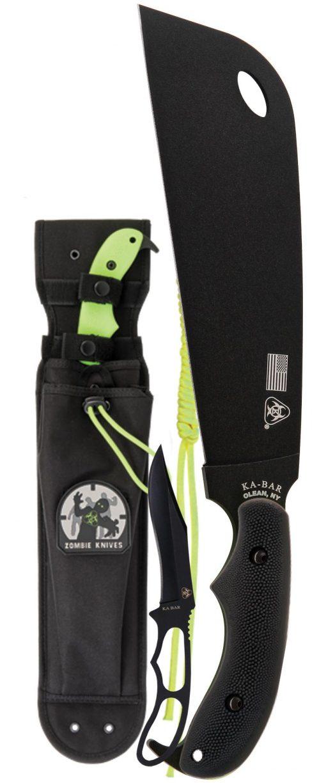 Ka-Bar Zomstro Knife1095 Blade Zombie Green GFN-PA66 Handle Front Side With Sheath