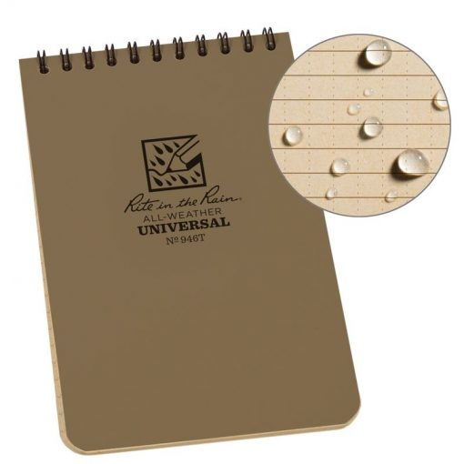 Rite in the Rain Top Spiral Notebook 4x6 - Tan Front Side Closed