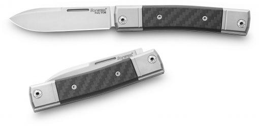 LionSteel BestMan M390 Blade Carbon Fiber Handle Front Side Open Back Side Closed