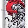 Zippo - Asian Tiger Lighter Front Side Closed Angled