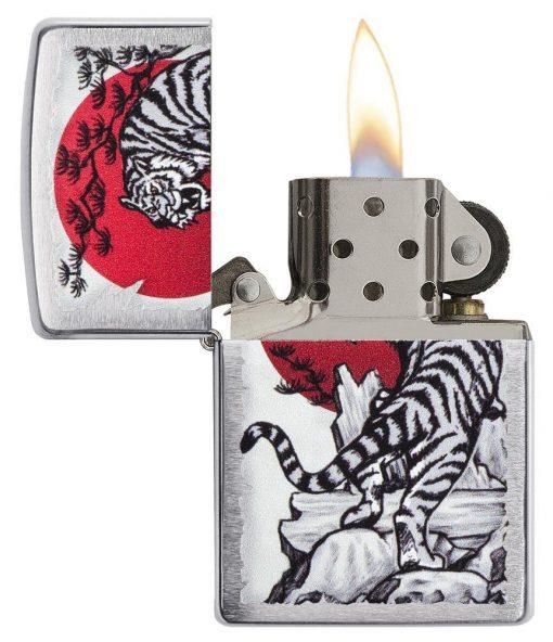 Zippo - Asian Tiger Lighter Front Side Open