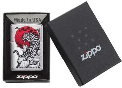 Zippo - Asian Tiger Lighter Front Side Closed in Box