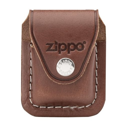Zippo - Lighter Pouch Loop Brown Leather Front Side Closed