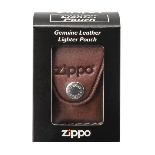 Zippo - Lighter Pouch Loop Brown Leather Front Side Closed In Box