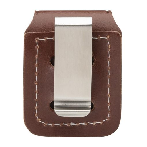 Zippo - Lighter Pouch Loop Brown Leather Back Side Closed