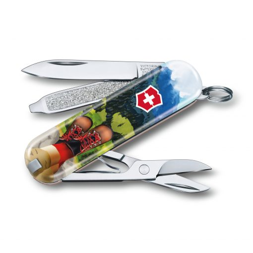 Victorinox Limited Edition 2020 Classic SD - I Love Hiking Front Side All Open Angled