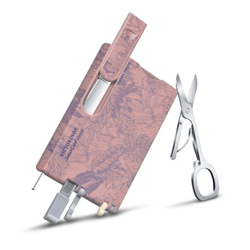 Victorinox SwissCard Classic Spring - Spirit Rose and Lilac Botanical Print Front Side Partially Open Angled