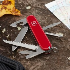 Victorinox Hiker Pocket Knife Red Front Side All Open On Ground