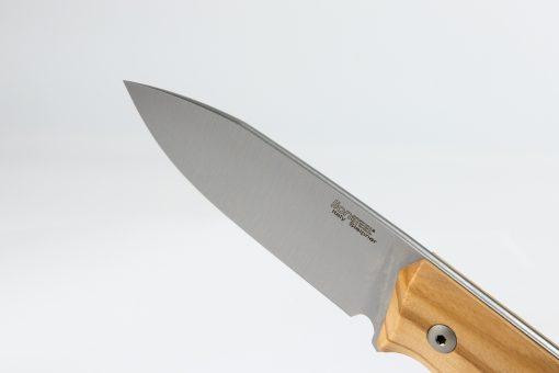 LionSteel B35 Sleipner Steel Blade Olive Wood Handle Front Side Blade