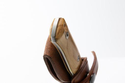 LionSteel B35 Sleipner Steel Blade Olive Wood Handle Handle End Close Up