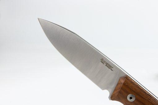 LionSteel B35 Sleipner Steel Blade Santos Wood Handle Front Side Blade Close Up