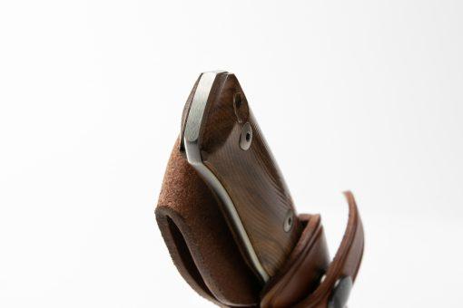 LionSteel B35 Sleipner Steel Blade Santos Wood Handle Handle End Close Up