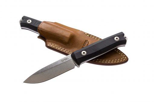 LionSteel B40 Sleipner Steel Blade Black G10 Handle In and Out of Sheath