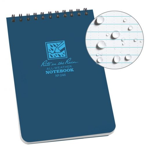 Rite in the Rain Top Spiral Notebook 4x6 - Blue Front Side Closed