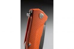 LionSteel KUR Sleipner Steel Blade Orange G10 Handle Flipper Close Up
