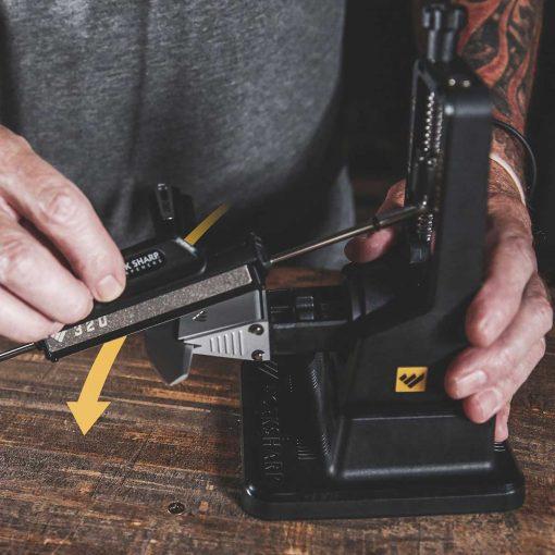 Work Sharp - Precision Adjust Sharpener with Tri-Brasive In Use